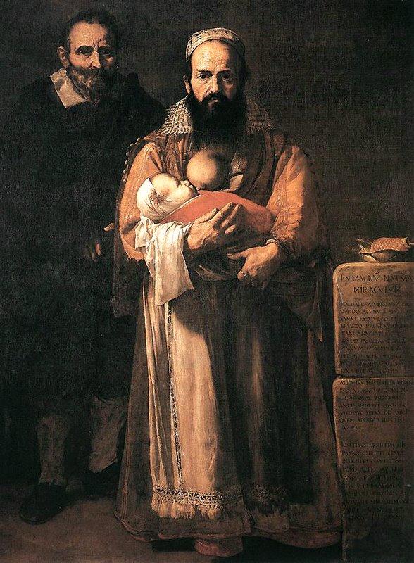 Jusepe de RIBERA - Femme barbue - Portrait de Magdalena Ventura, mari et fils (1631) Huile sur toile - Hospital de Tavera (Toledo)