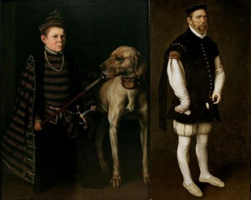 Antonio Moro - A gauche : Le nain du cardinal Granvelle (1549) - A droite : Le bouffon Pejeron