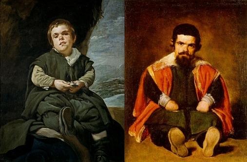 Velazquez - A gauche : Portrait du nain Francisco Lezcano (1643) - A droite :  Portrait du nain Sebastian de Morra (1645)
