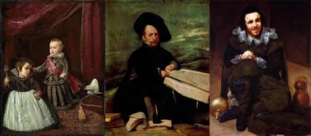 Velazquez. De droite à gauche:  Le Prince Baltasar Carlos avec une naine (1631) - Portrait de  Don Diego de Aceda (1645) - Portrait du bouffon Don Juan de Calabazas (1628)