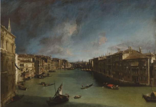 Le Grand Canal vers le nord-est du palais Balbi au pont du Rialto, 1723, huile sur toile, Venise, Fondazione Musei Civici di Venezia