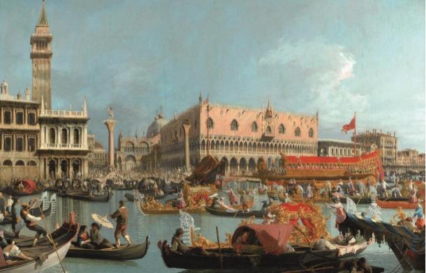 Venise, le Bucentaure de retour au Môle, le jour de l'Ascension, vers 1731-1732, huile sur toile, Durham, The Bowes Museum