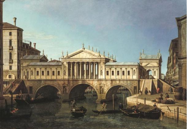 Caprice, le Pont du Rialto selon le projet de Palladio, 1744, huile sur toile, Londres, The Royal Collection