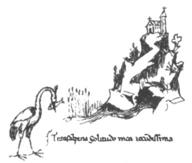 Fontaine de Vaucluse, dessin de la main de Pétrarque