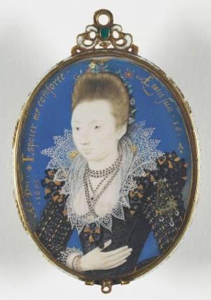 Image 2 : Portrait d'une jeune fille de seize ans, Nicholas Hilliard, 1605, miniature sur velin collé sur carte à jouer, 56x44mm, musée du Louvre (RF 54647, don 2009)