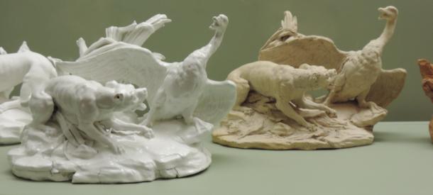 Chien poursuivant un cygne dans les roseaux, d'après Jean-Baptiste Oudry