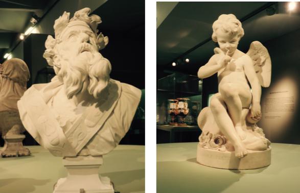 Calchas, sous la direction de Boizot d'après Michel Ange Slodtz. Modèle de 1774, édition vers 1780, biscuit de porcelaine dure. L'Amour menaçant, d'après Etienne- Maurice Falconet, biscuit en porcelaine tendre.