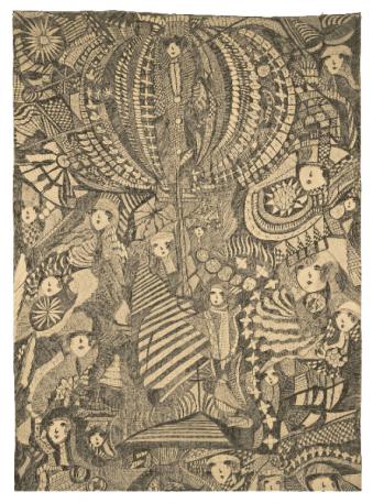 Gill, Madge sans titre, sans date encre de Chine sur calicot 213 x 86,5 cm © crédit photographique Collection de l'Art Brut, Lausanne
