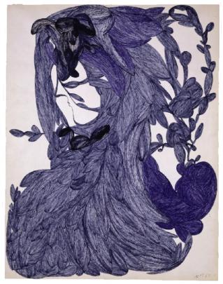 Laure sans titre, 10 novembre 1961 encre sur papier 65 x 50 cm © crédit photographique Collection de l'Art Brut, Lausanne