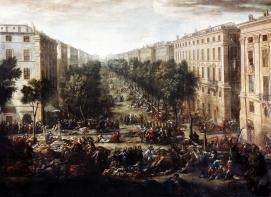 Vue du cours pendant la peste, Michel Serre, Huile sur toile, musée des Beaux-Arts, Marseille